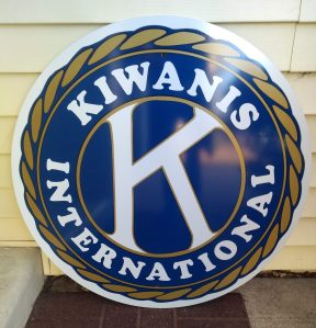 Bettendorf Kiwanis metal road sign